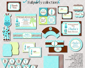 Giraffe Baby Shower - FULL Printable Party Collection