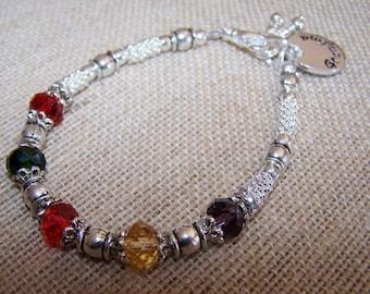 Birthstone Bracelet, Mothers Bracelet, Grandmothers Bracelet, Swarovski crystal bracelet, handstamped pendant