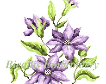 Machine embroidery Clematis, Cross stitch Clematis, Purple Clematis