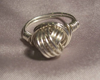 Sterling Silver Love Knot Wire Wrapped  Ring  size 7