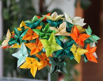 Green, Yellow and Orange Bouquet - Origami Floral Arrangement