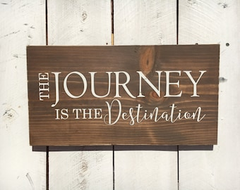 Wood Sign, The Journey is the Destination, Travel Sign