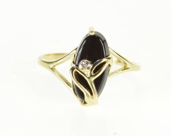 10k Onyx Marquise Floral Diamond Inset Overlay Ring Gold