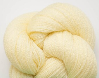 Butter Yellow Wool Lace Weight Reclaimed Yarn, WOL00060