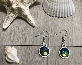 Blue mermaid scale earrings
