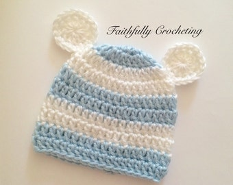 Newborn bear hat.. Baby blue a s white stripes.. Photography prop.. Ready to ship