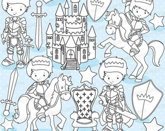 80% OFF SALE Fairytale prince digital stamp commercial use, vector graphics, digital stamp, digital images - DS771