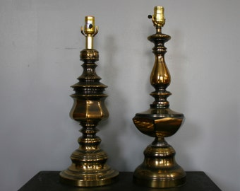 Lovely Vintage Pair Brass Lamps Perfectly Mismatched Tall Mid Century Lighting  Bedside Entryway Bar Buffet End Table
