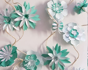 Paper Floral Garland #8  PDF Digital Download - Print Trace and Cut