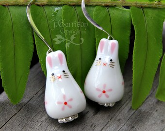Adorable bunny rabbit earrings - painted ceramic bunny beads with pink flower on silver earwires - great gift -Free Shipping USA