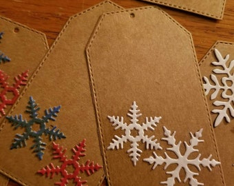 Set of 6 snowflake gift tags