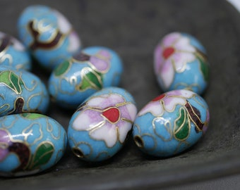 Chinese Cloisonne Beads 18x13mm Oval Turquoise BlueCloisonne Bead Enamel Beads Metal Beads (2 beads) CL28