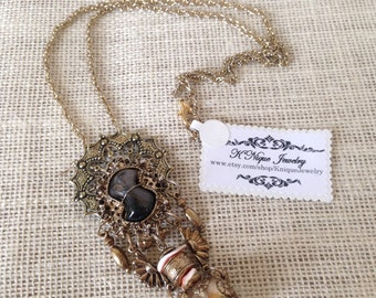 Vintage Repurposed Clip on Earring Tassel Necklace by K'nique Jewelry