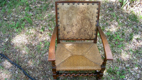 Like this item? - Antique Barley Twist Fireside Chair With Antique Tapestry