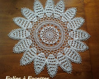 Crochet doily, ecru crochet table centerpiece