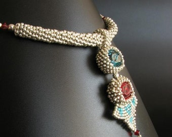 Silver Beaded Choker with Removable Pendant of Red and Blue Swarovski Crystals and Turquoise Triangles, 2 in 1 Art Deco Necklace  S228