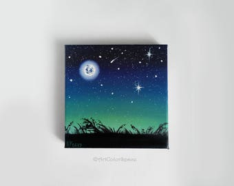 Moon painting canvas Small painting Night sky Christmas gifts Full Moon canvas Moon nursery room Moon galaxy painting Moon art Night Moon