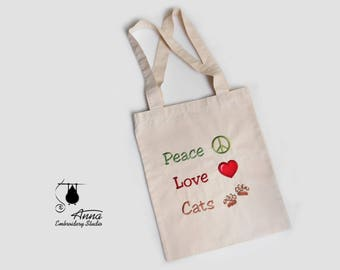 Cat Tote Bag. Embroidered bag. Canvas Tote Bag. Shopper bag. Eco Bag. Beach Bag. Christmas gift for cats lovers.