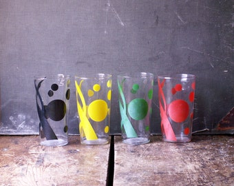 Set of Four Midcentury Juice Glasses with Painted Dots - Cocktail, Wine Glasses