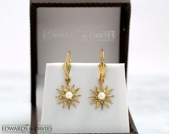 Antique Gold Pearl Starburst Earrings | Antique Pearl Earrings | Antique Starburst Jewelry | Antique Jewellery | Vintage Earrings