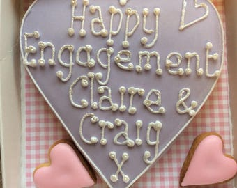 Engagement celebration cookie loveheart. Personalised cookie biscuit / decorated love heart cookie