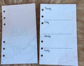 2018 Printed Trendy Marble Print Inserts, Fashionista Week on 2 Pages Planner, Pocket, Personal and A5 size, Agenda Fillling