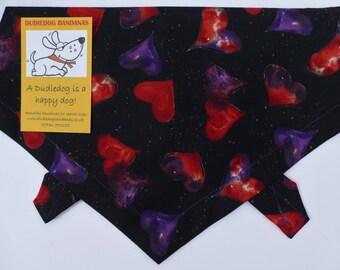 Juicy Heart Print Dog Bandana, Handmade, high quality Tie on, red and purple on black. Premium 100% cotton Free UK P&P. 7 sizes