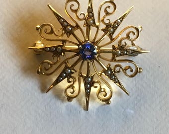 Turn of the century Antique 14K Sapphire and Seed Pearl Pendant/Brooch