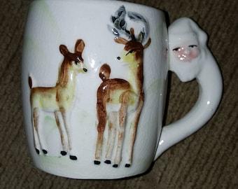Vintage 1950s Santa Clause handle reindeer mug