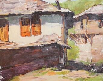 Vintage impressionist landscape oil painting signed