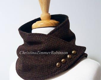 Rust Maroon Tweed Neck Warmer, Neckwarmer, Scarf, Wrap, with Decorative Bronze Buttons, Fleece, Snap