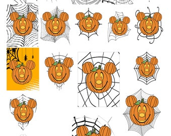 Halloween Disney Mouse Spiderweb 1A-Digital Clipart-Pumpkins-Gift Tag-Party-CakeTopper-Notebook-Scrapbook-Jewelry-T-Shirt-gift card.