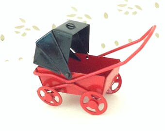 Miniature baby carriage - vintage - red & black - metal - doll house - miniature collector gift