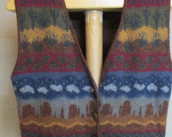Vintage 1990's Winona Mills Minnesota Southwest Indian Style Print Muted Colors 100% Wool Vest Women's Size XL USA
