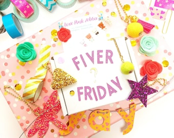 Fiver Friday planner mystery box | lucky dip | planner clips | planner charms | surprise box | sparkle planner | gift idea | lucky bag |