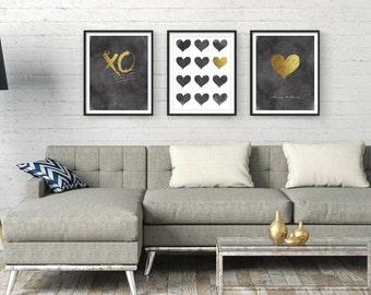 Wall Art, Set of 3, Print set, Bedroom Wall Art, Wall Art Prints, Abstract Art, Black Gold, Gift For Her, Typography Print, Heart, Giclee