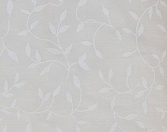 """Natural Tone on Tone Leaves Print 108"""" wide back 100% cotton fabric"""