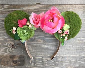 Te Fiti Minnie Ears/ Floral Moss Headband/ Minnie Ears