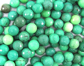 "12mm faceted green chrysoprase round beads 15.5"" strand 32061"
