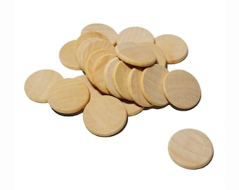 "1.5"" Smooth WOOD Unfinished Circles Coins Discs Round CutOuts Ornament Craft Dreidel Game Buttons Magnets DIY Gift Tag"