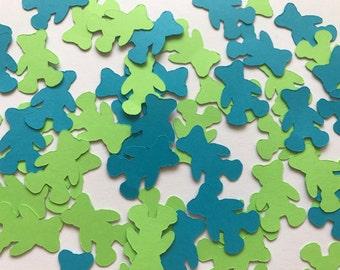 Blue and Green Teddy Bear Confetti - Teddy Bear Baby Shower Decorations - Boy Baby Shower Decorations - Blue and Green Baby Shower