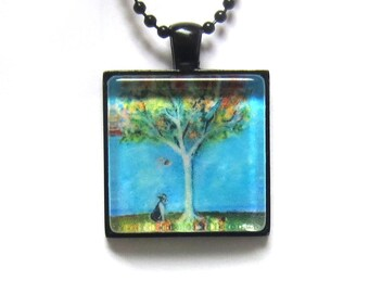 Boston Terrier Falling Leaves Autumn Jewelry painting Art Glass Tile Pendant Necklace