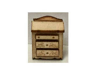 Quarter Inch Scale Renaissance Night Stand Dollhouse Furniture Kit.