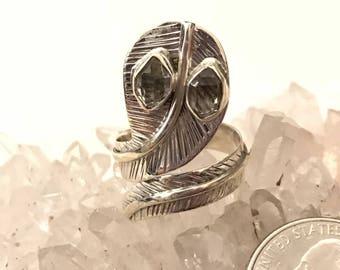 Herkimer Diamond  Snake Ring, Size 7