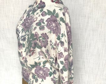 Vintage Silk Angora Floral Sweater, Medium