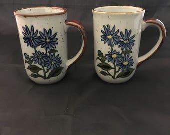 Vintage Stoneware Mugs - Takahaski Style - Stoneware Mugs with Flowers - Japanese Stoneware- Vintage Coffee Mugs -  Set of 2
