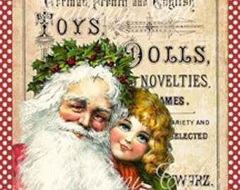 Victorian Santa and Child Digital Collage Sheet Instant Download for Gift Tags Scrapbooking Journaling Card Stationary GalleryCat CS167