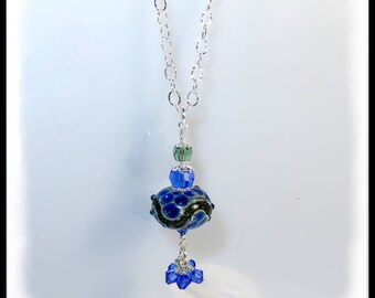Green and blue lampwork glass bead necklace, sapphire and olivine Swarovski crystal necklace, artisan lampwork glass beads, pendant necklace