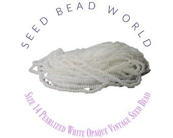 White Size 14 Seed Bead Pearlized White Wedding . Wedding Beads