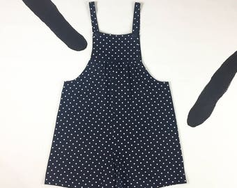 80's polka dot cotton romper 1980's overalls shorts jumper / navy / sailor / loose bibbed jumpsuit playsuit onsie coveralls romper / Small S